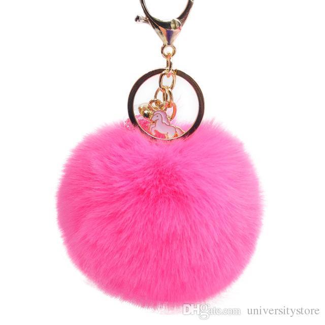 Faux Rabbit Fur Pom Pom Keychain Lovely Glass Ball Unicorn Key Chains for Women Trinket Girl Bag Charms Pendant Keyring