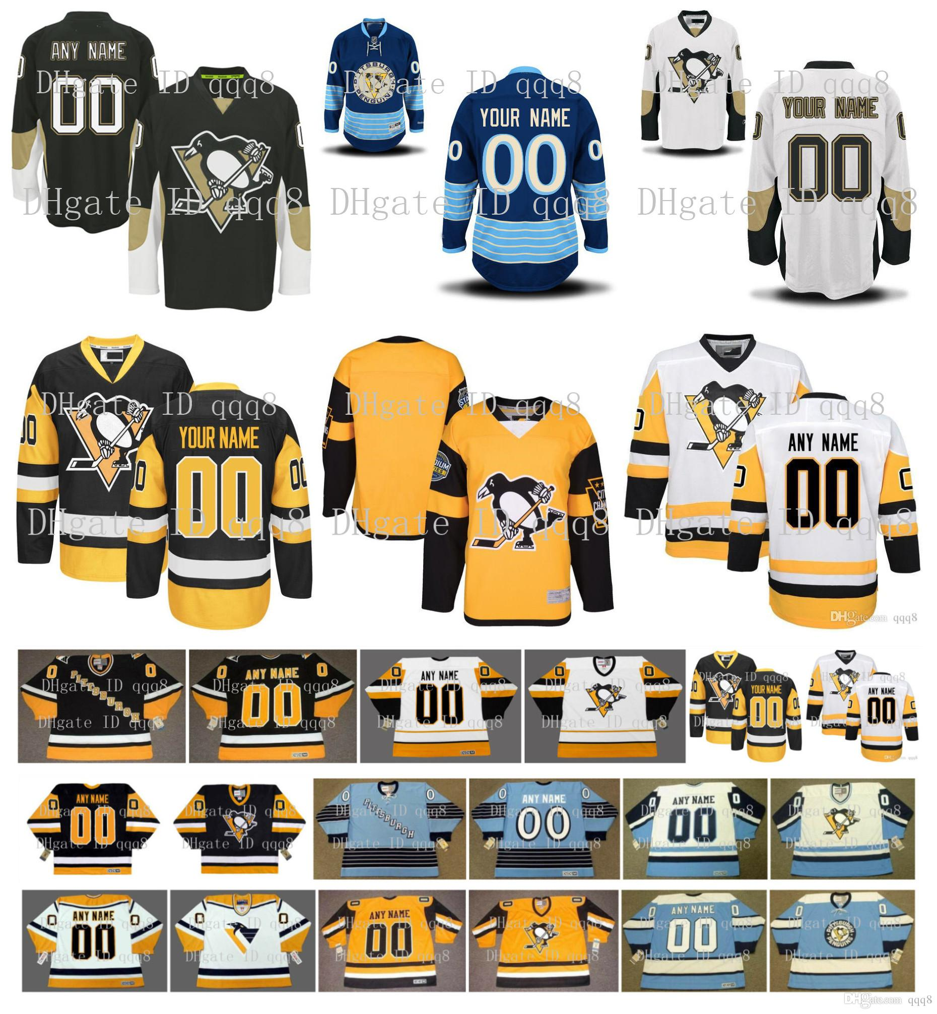 Customized Men Pittsburgh Penguins Jerseys Custom Stitched Any Name Any Number Vintage Ice Hockey Jersey Embroidery Logos Size S-XXXL