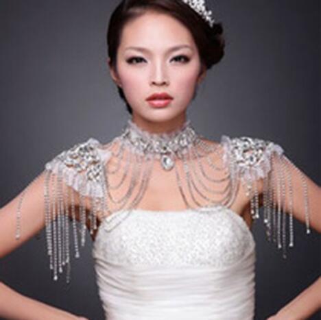Rhinestone de lujo de la manga del hombro de novia de la boda de la cadena hombro de las cadenas ocasión de la boda vestido de accesorios Mujeres Los vendajes especiales