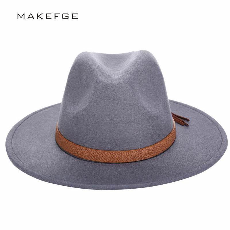 2016 الخريف الشتاء أحد النساء فيدورا قبعة الكلاسيكية واسعة بريم فيلت مرن قاء زجاجي الفاتحة تقليد الصوف كاب C19041701