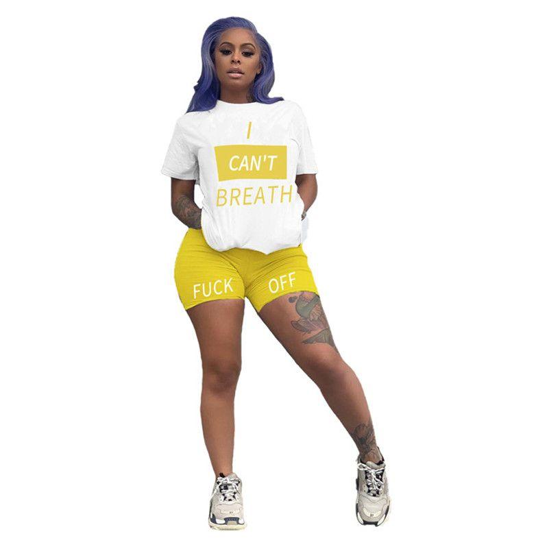 Été JE RESPIRER Lettre Survêtement design T-shirt et shorts Set 2020 à manches courtes sport deux pièces Tenues Sweatsuit ClothD6814