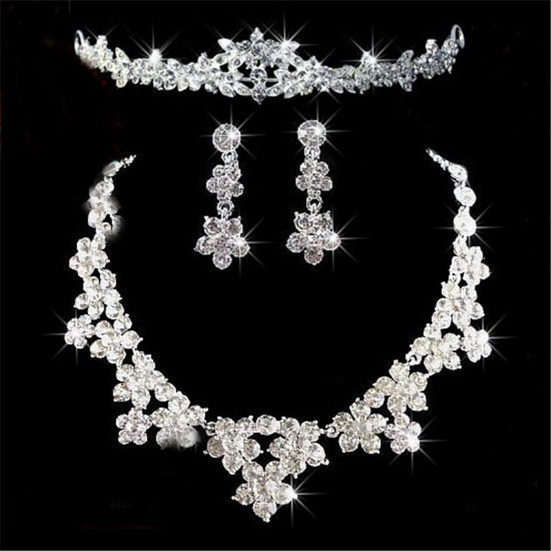 로맨틱 크리스탈 3 조각 보석 세트 꽃 신부 쥬얼리 세트 신부 목걸이 귀걸이 크라운 Tiaras 웨딩 파티 액세서리