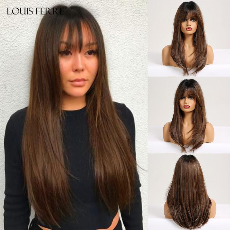 LOUIS FERRE Ombre Noir Bronze Brun Ash droite perruques cosplay perruques synthétiques avec une frange pour Balck femmes perruque de cheveux longs faux cheveux