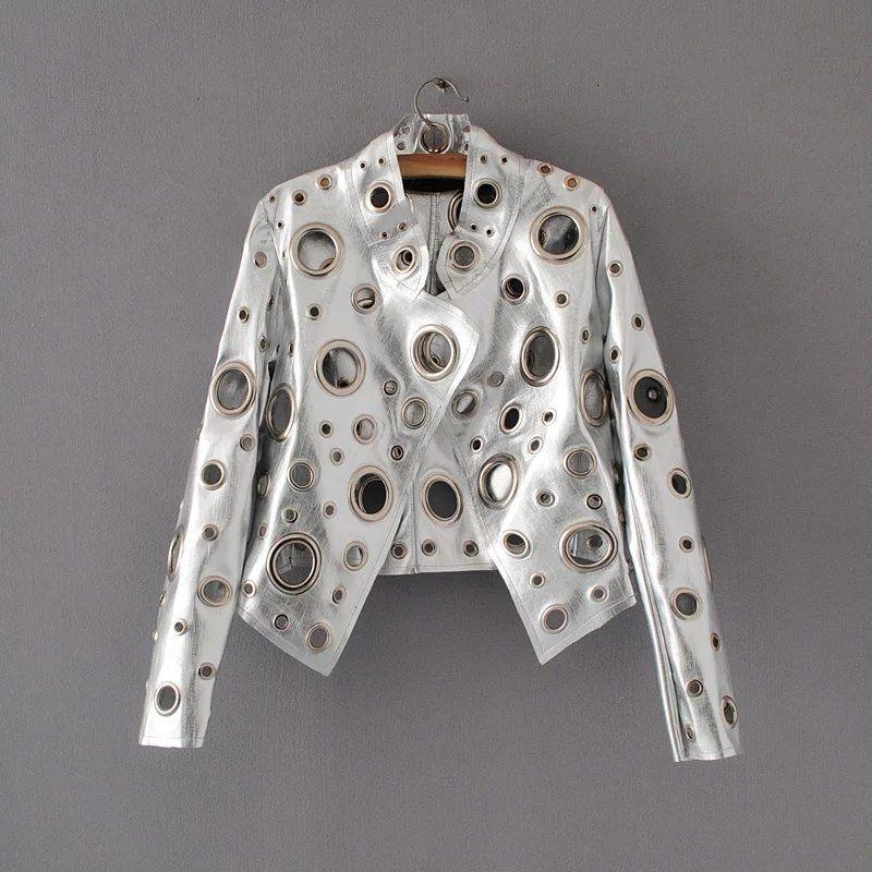 Cakucool Giacca da donna in pelle nera nuova primavera Slim Occhiello in metallo dorato Giacca da moto Giacca da motociclista Femme Punk Streetwear Y190830