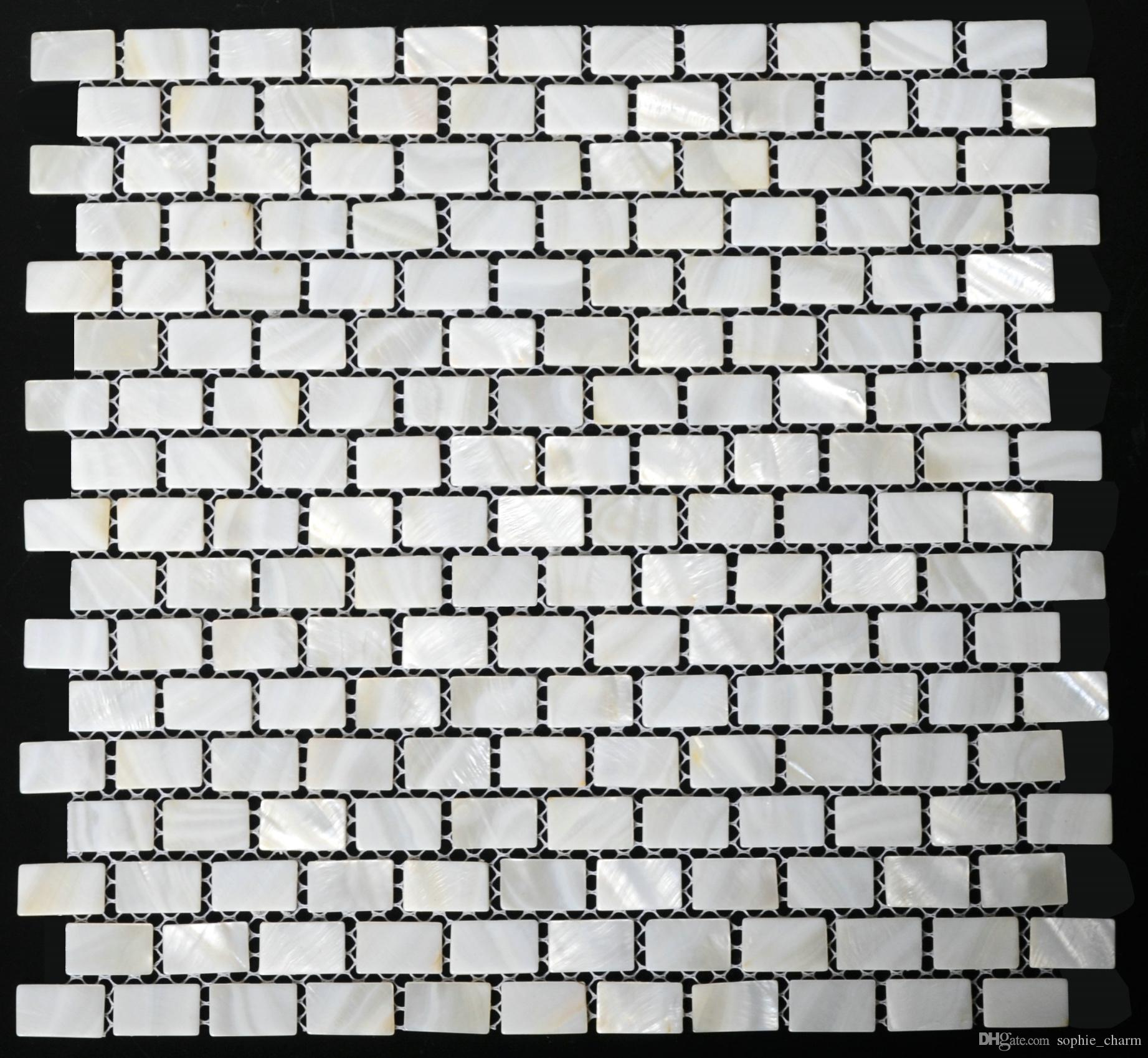15x25mm Brick White Mother of pearl tile kitchen backsplash sea shell mosaic MOP004 white pearl tiles mother of pearl bathroom tile