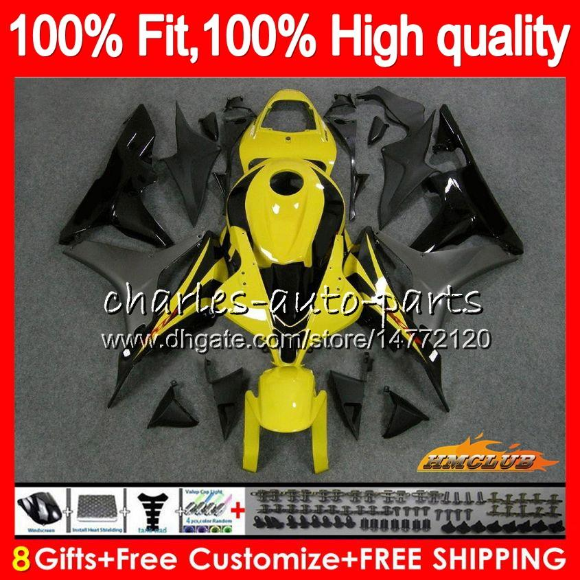 OEM Инъекция Для HONDA CBR600 CBR 600 RR CC 600RR желтый серый 2007 2008 67NO.100 CBR600RR CBR600F5 600F5 600cc F5 07 08 обтекателя 100% Fit