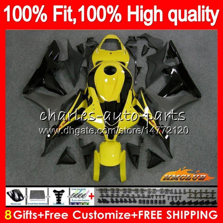 OEM Injection For HONDA CBR600 CBR 600 RR CC 600RR yellow grey 2007 2008 67NO.100 CBR600RR CBR600F5 600F5 600CC F5 07 08 Fairing 100% Fit