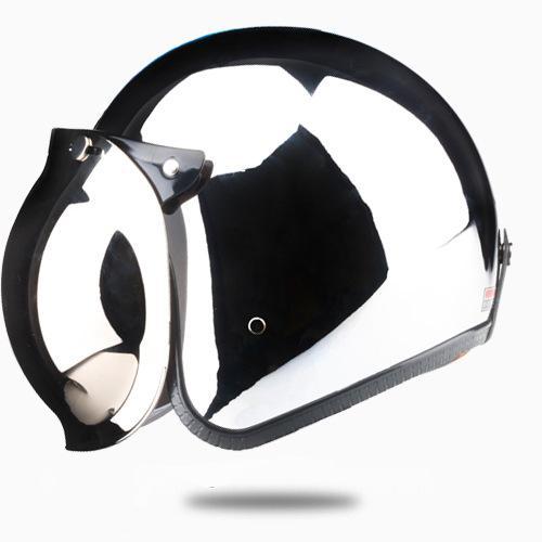 Open Face Motorcycle Helmet Vintage Kask Capacete Chrome Silver Retro Casque Mirror Pilot Jet Moto 3/4 Half Casco DOT 513