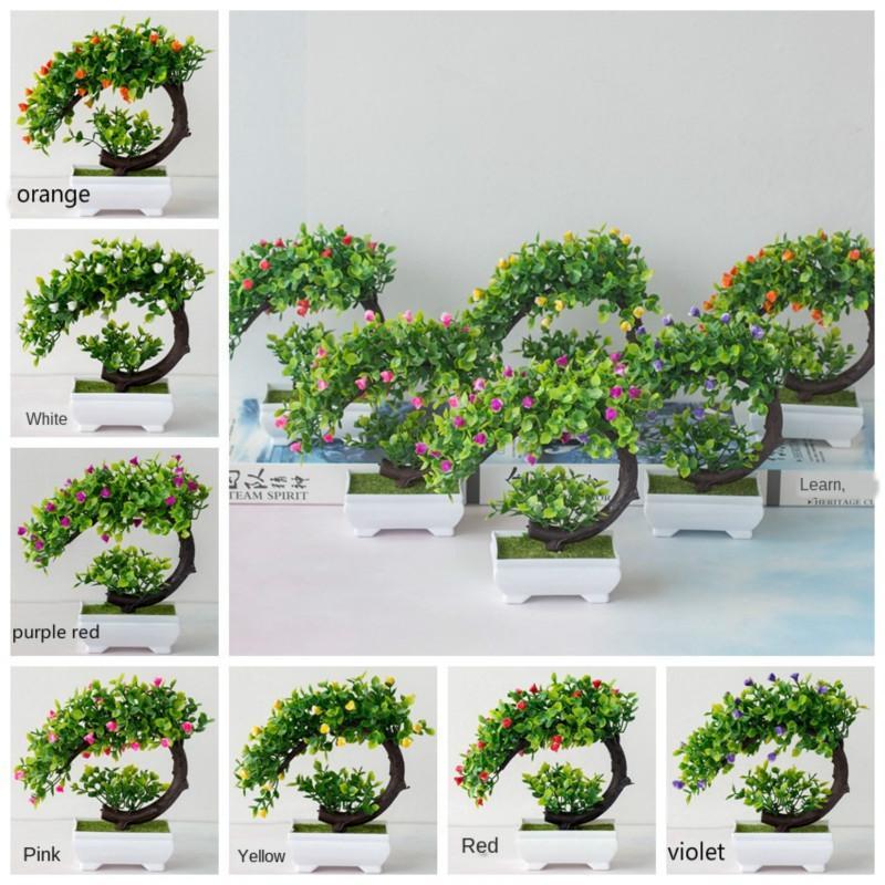 Forma 1pcs de la Media Luna Artificial Adornos Planta en maceta de plástico Bonsai Hotel Home Garden Decor Pot simulación de las flores artificiales