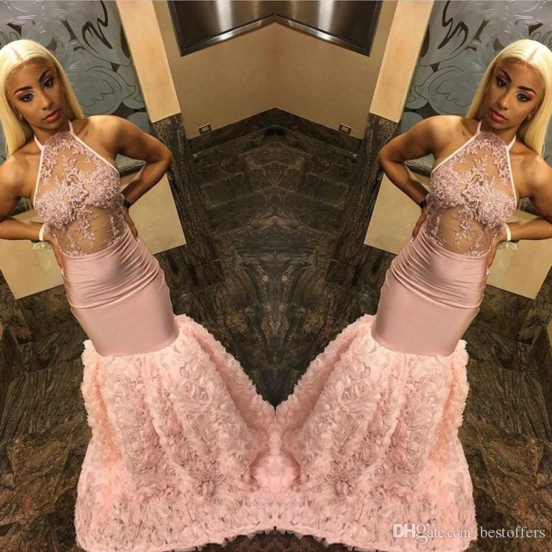 Персиковые платья выпускного вечера для чернокожих девушек с каскадными цветами 2019 Сексуальные лилии с завязками на шее Русалка Аппликации Длинные вечерние платья BC1642