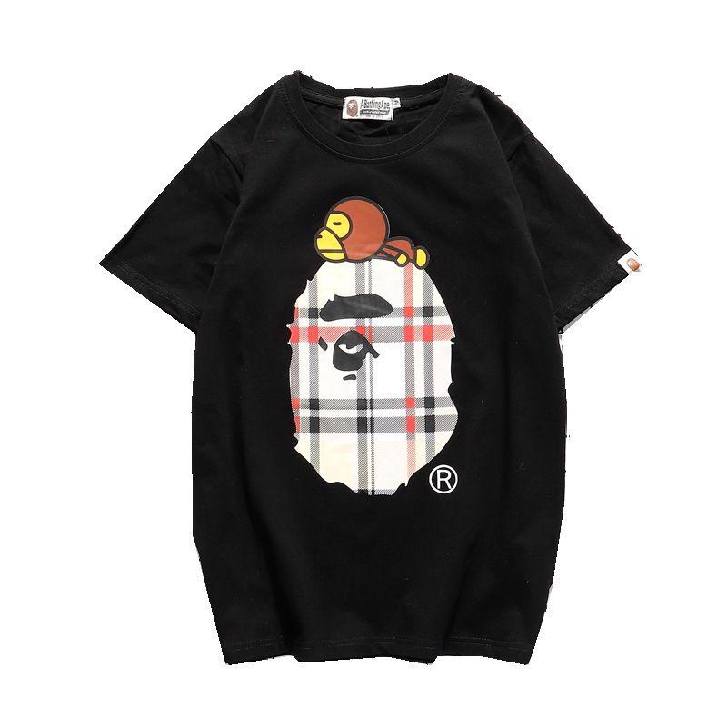 19SS coton Ape tête d'impression des hommes T-shirt drôle occasionnels un bain singes t-shirt pour hommes t-shirts