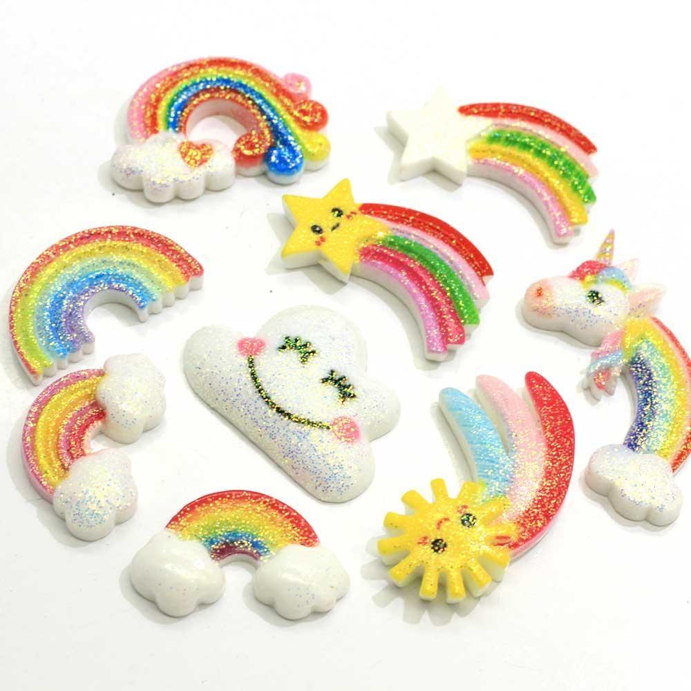 Mix Style coloré Glitter résine Rainbow Flat Retour Cabochon nuage d'étoiles Little Horse charme pour téléphone bricolage Art Déco