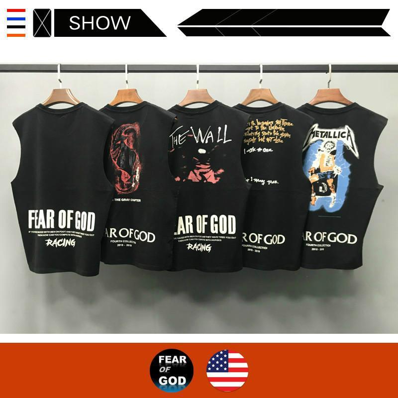 Designer rue marée la peur de Dieu Gilet brouillard la peur de Dieu Sans Manches Gilet Rock Gilet Rétro lavage Top T-shirt Baggy populaire Logo Hommes de T-shirt