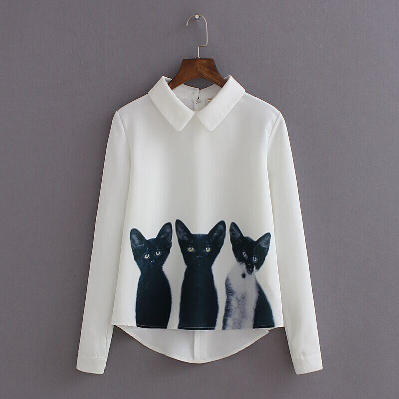Gato diseñador de moda de la blusa de las mujeres de dibujos animados de la nueva marca floja de la gasa de tres gatos Tops soporte de cuello de la blusa ocasional otoño Camisas de alta calidad