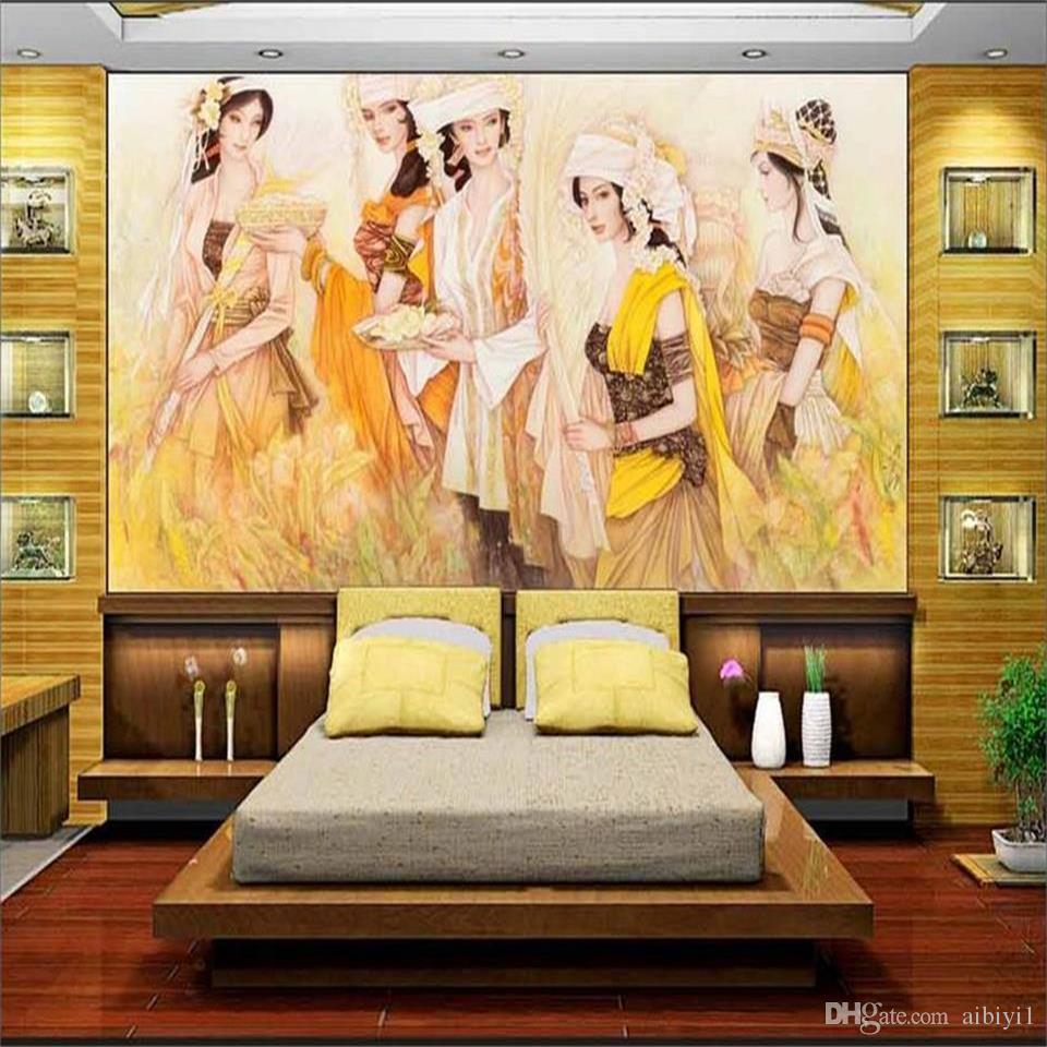 Tamaño personalizado 3d papel tapiz fotográfico sala de estar cama habitación mural estilo bali belleza 3d imagen sofá TV telón de fondo papel tapiz no tejido