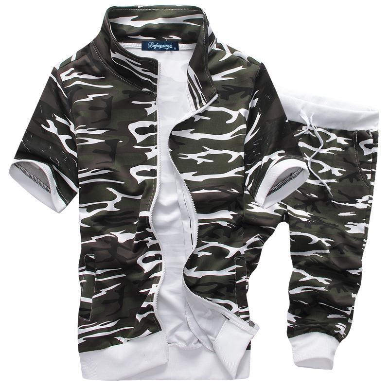 Sommer-Männer kurze Hülsen der neuen heißen Männer Hoodiesklage beiläufige Sweatshirts Set Herren Sportswear Gut M-XXL