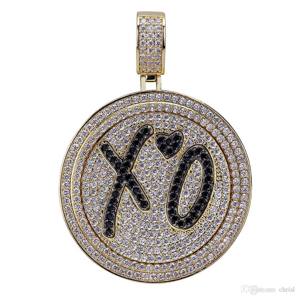 Spinner Xo Collana pendente rotonda Iced Out Tutto Zircon Brass Oro Argento Placcato Uomo Hip-Hop Regalo di gioielli girevole hip-hop
