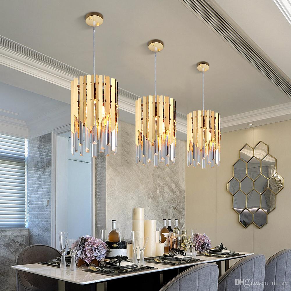 جودة عالية جولة الذهب K9 الكريستال الصمام الحديثة الثريا الإضاءة لغرفة الطعام المطبخ غرفة نوم السرير الإضاءة الداخلية الإضاءة