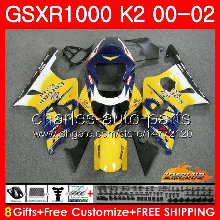 Marco para Suzuki GSX-R1000 Venta amarilla GSXR1000 K2 GSX R1000 00 02 Kit de cuerpo 14HC.2 GSXR-1000 GSXR 1000 00 01 02 2000 2001 2002 Carreyo