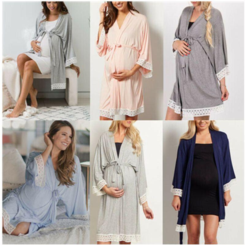 모유 수유 나이트 가운 잠옷 출산 잠옷 파자마 잠옷 여성을위한 여성의 출산 드레스 간호 잠옷