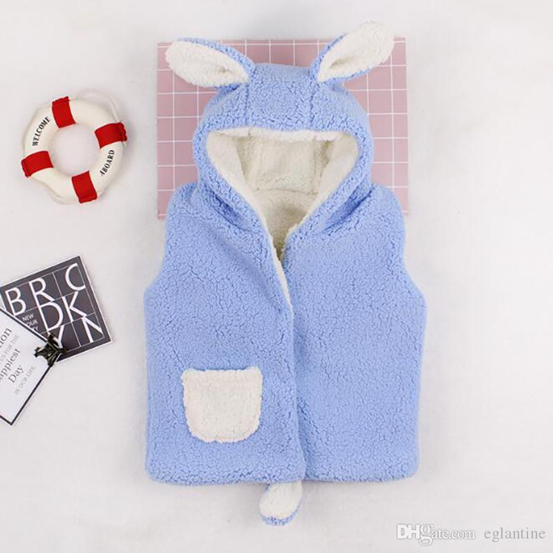 Vestiti del bambino del panciotto della maglia invernale di velluto con cappuccio Abbigliamento Bambino spessore caldo cappotto carino orecchie vestiti