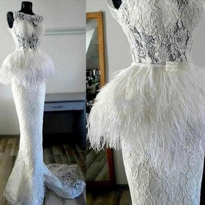Lindo Lace Sexy Prom Dresses ver através Peplum Feather Contagem Train Mermaid Vestido Custom Made Mulheres Cocktail Party Vestidos