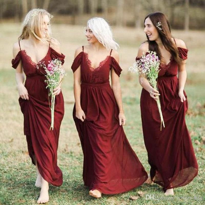 Burgundy Vintage Bridesmaid Dresses Sexy Spaghetti Long Bohemian Wedding Party Gowns Summer Maid Of Honor Long Prom Dress Robes