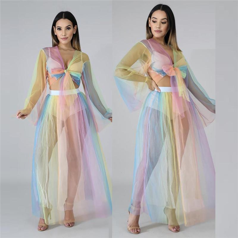 Sexy due pezzi vestito le donne Papillon Sheer Mesh 2 pezzi Crop Top e gonna set vestito del partito Club Due Set Summer Beach Outfit