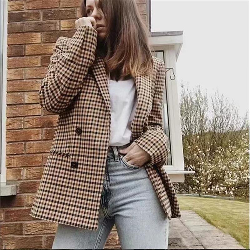 Mulheres Moda Plaid Blazer Jacket Brasão Botão retro Malha Suit com ombreiras Blazer Feminino Casual Coats 2019 Novas