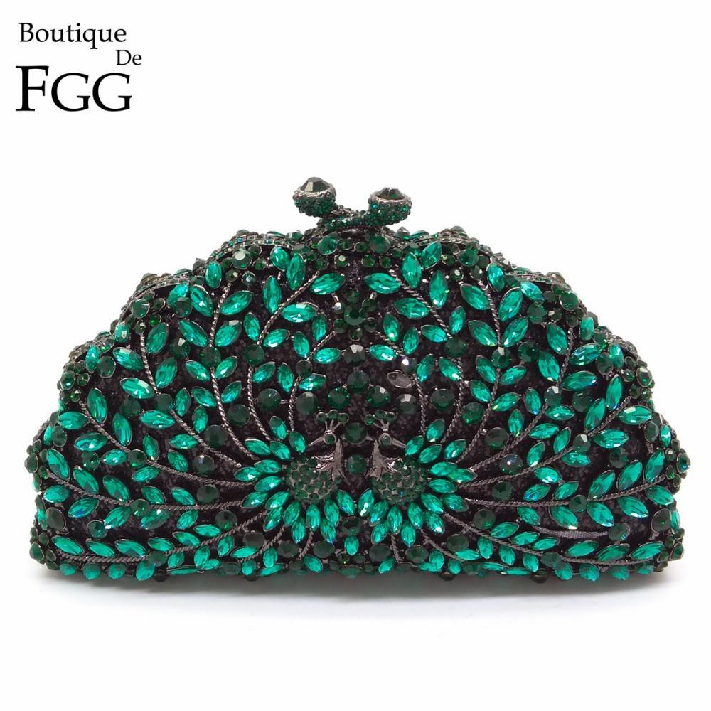 Boutique De FGG vert paon femmes soirée cocktail mariage Porte-monnaie cristal d'embrayage sac à main de mariée diamant