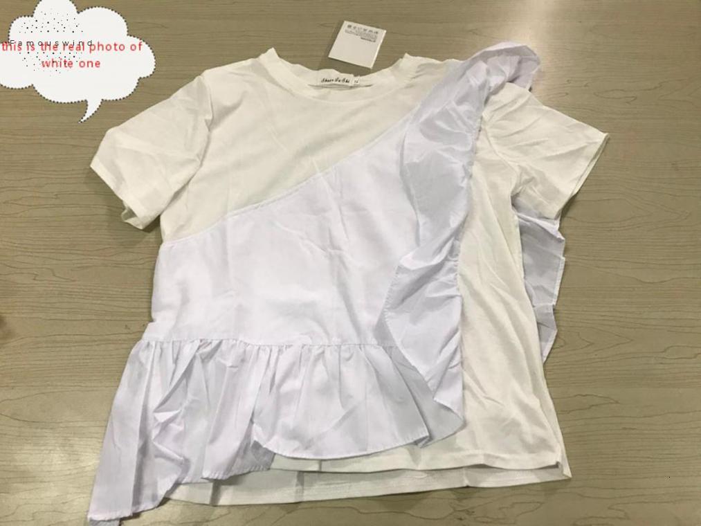 T-shirt 67653 Nouveau été Patchwork Casual Volants manches courtes Femme T-shirt O Neck Dolman irrégulière manches Hauts pour femmes