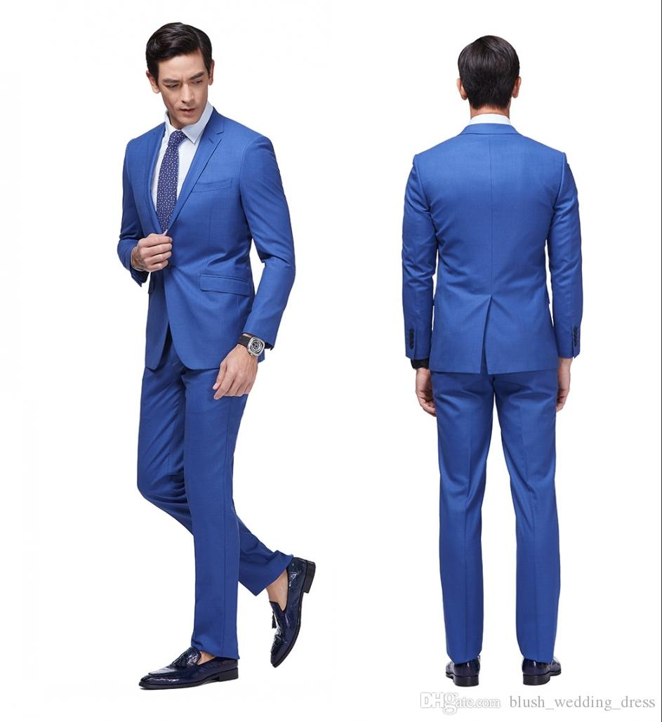 2020 Newest Slim Fit Groom Tuxedos Royal Blue Best man Suit Notch Lapel Groomsman Men Wedding Suits Bridegroom (Jacket+Pants)