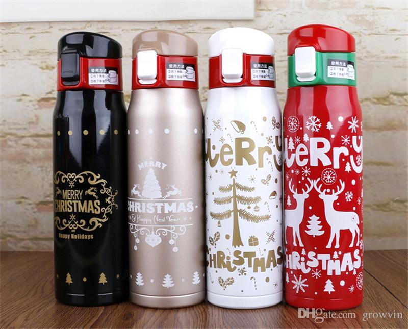 زجاجة ماء 500ML عيد الميلاد عيد الميلاد مزدوجة الجدار الطباعة الفولاذ المقاوم للصدأ بهلوان فراغ الرياضة السفر الترمس قارورة كأس قهوة القدح k0681