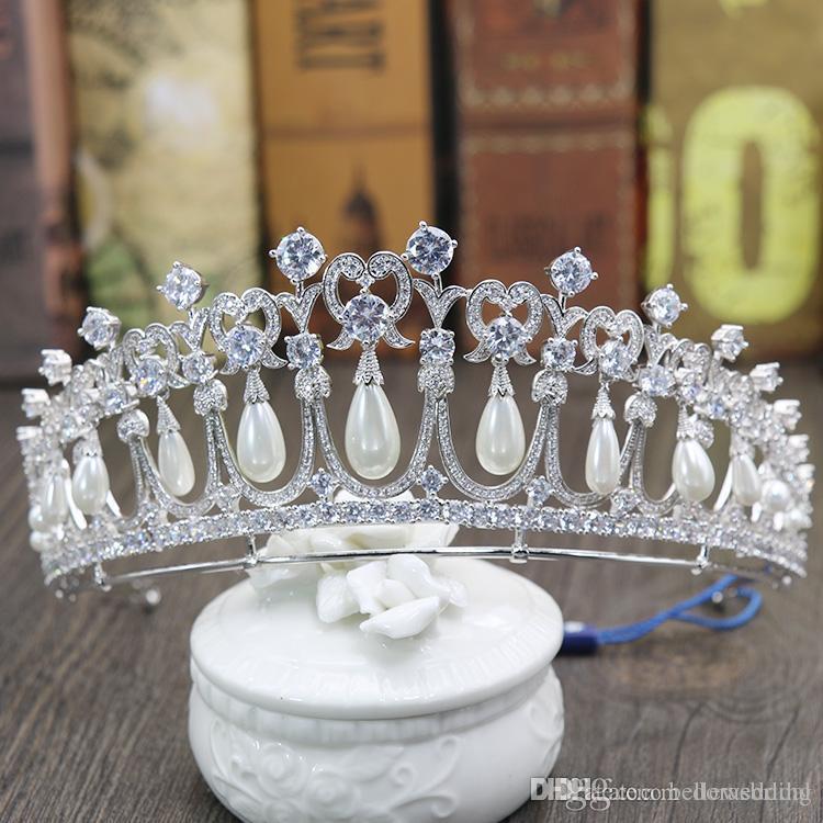 Prenses Diana Taçlar Gelin Tiaras Zirkonya Inciler Ile Gelin Takı Kızlar Balo Parti Performans Pageant Düğün Tiaras # DB-JS019