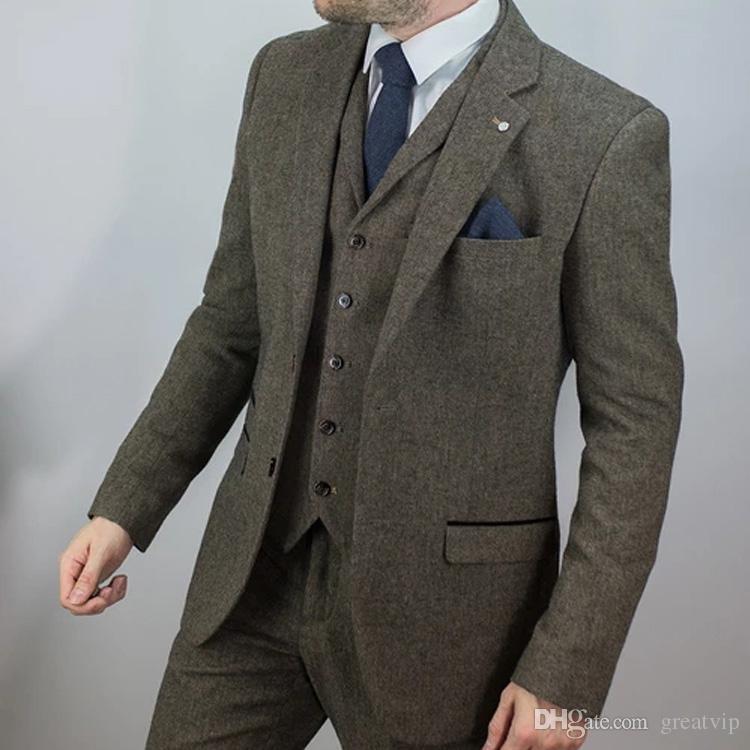 Brun Tweed Hommes Costumes Slim Fit Deux Boutons Marié Porter Smokings Pour Les Hommes De Mariage Blazer Formel Costume (Veste + Gilet + Pantalon)