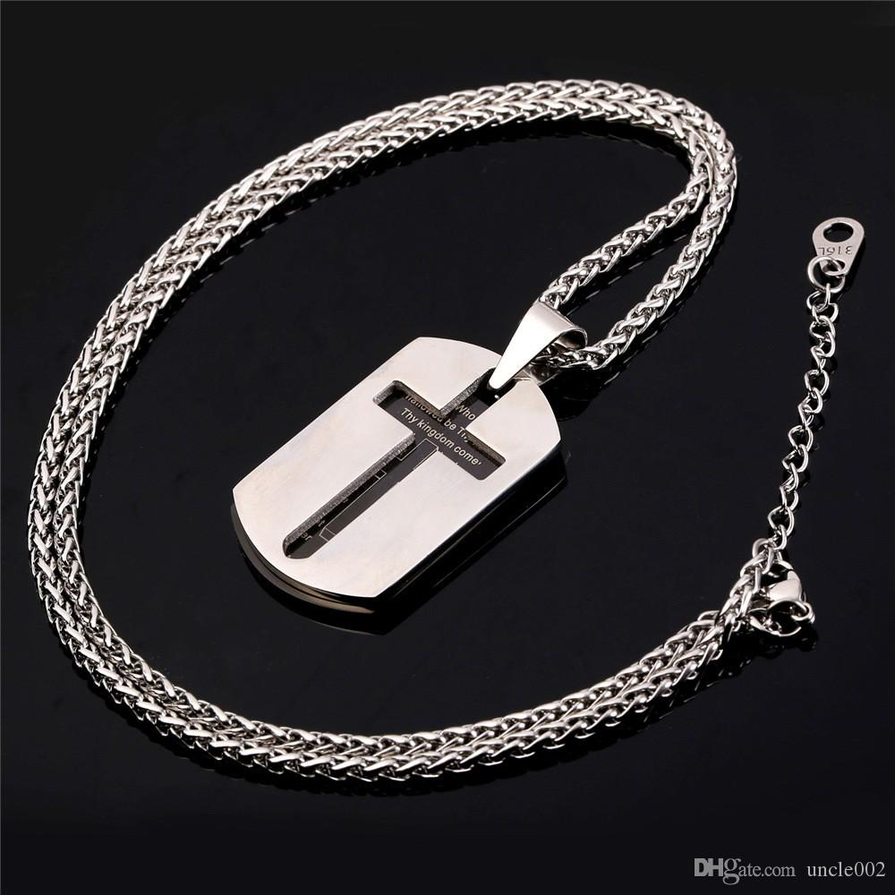 FashionCross Necklaces Pendants Christian Jewelry Bible Lords Prayer Dog Tags Gold Color Stainless Steel Christmas Gift For Men P682