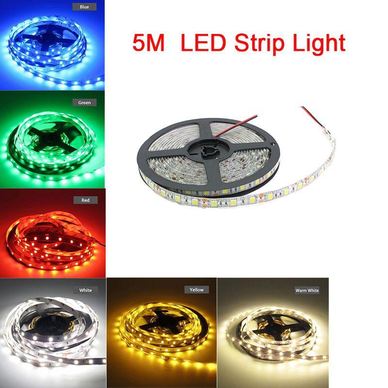 LED Streifen Licht Kit Flexible SMD2835 5050 300 LEDs Klebeband Licht 5 Mt 12 V DC LED Aquarium Dekoration Make-Up Licht für Zuhause, Party, Weihnachten