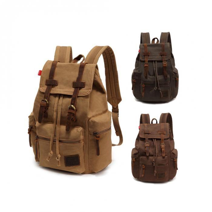 Canvas Messenger Rucksack Military Vintage-Leinwand-Mann-beiläufige Segeltuch-Leder-Rucksack-Rucksack-Schultasche Schultasche