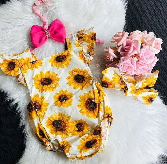 Emmababy новорожденного Baby Girl Цветочные подсолнечника Ромпер оголовье комбинезона Одежда Outfit