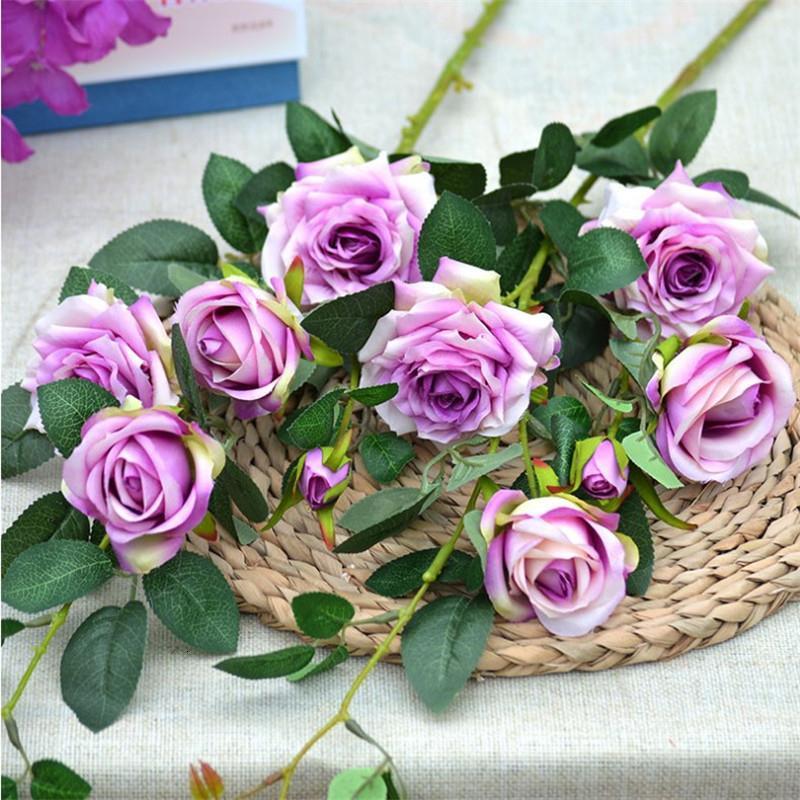 """Поддельные длинные стволовые розы цветок (5 голов / шт) 33.86 """" длина имитация Melaleuca розы для свадьбы главная декоративные искусственный цветок T191108"""