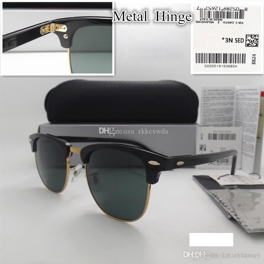 Hochwertige Glasobjektiv 51MM Marke Designer Mode Männer Frauen Plank Rahmen Beschichtung Sonnenbrille Sport Vintage-Sonnenbrille mit Kasten