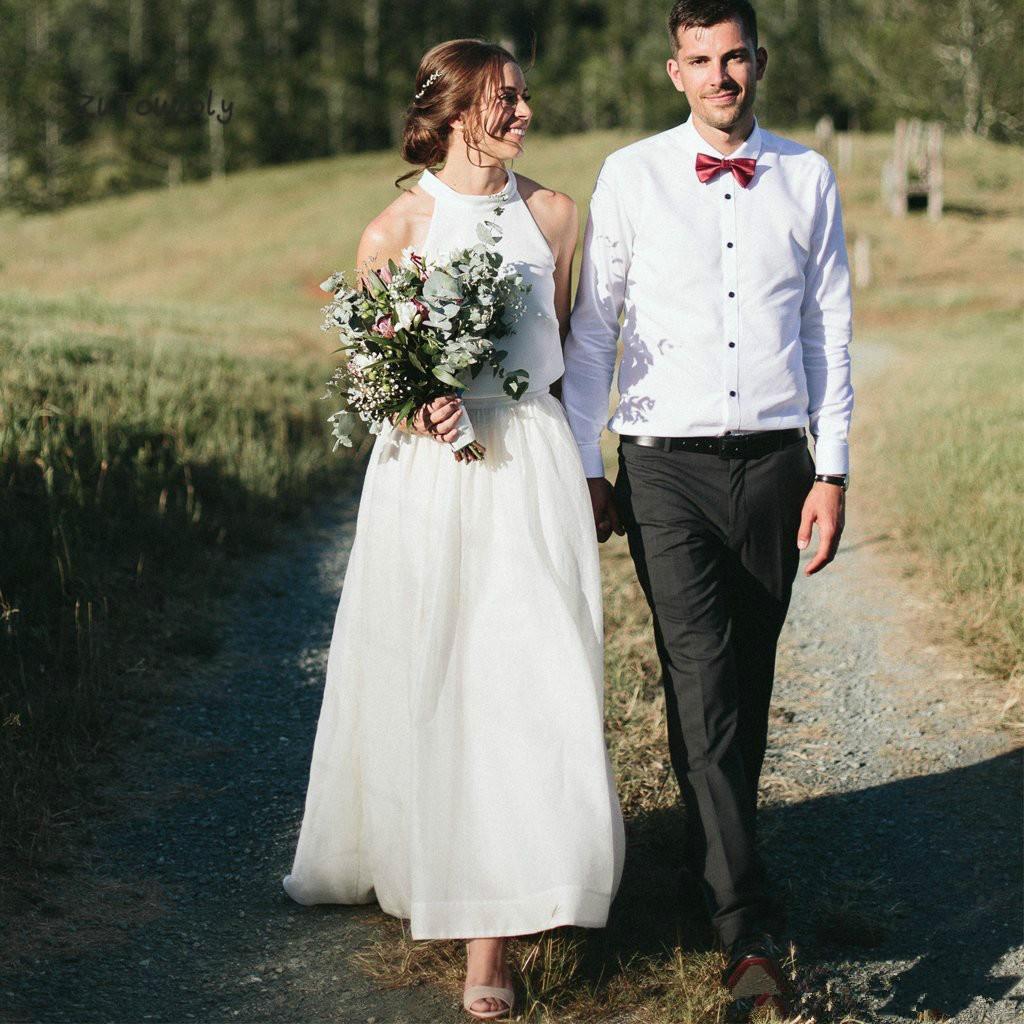 Zarif Yeni İki Adet Gelinlik 2019 Tül Halter Kolsuz Kat Uzunluk Düğün Gelin Törenlerinde Düğün için Özel Made A73