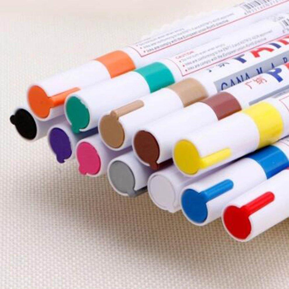 12x Tragbares glatt und bequem schreiben Reibungslos Farbstift-Reifen Gummi Metall Permanent Farbe Graffiti Scratch Mark Pen