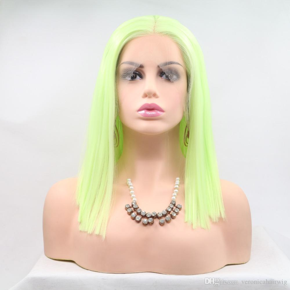 Realistic Looking Yellow Green Bob Cut Natural Hairline Heat Resistant Fiber Synthetic Lace Front Wigs For Women