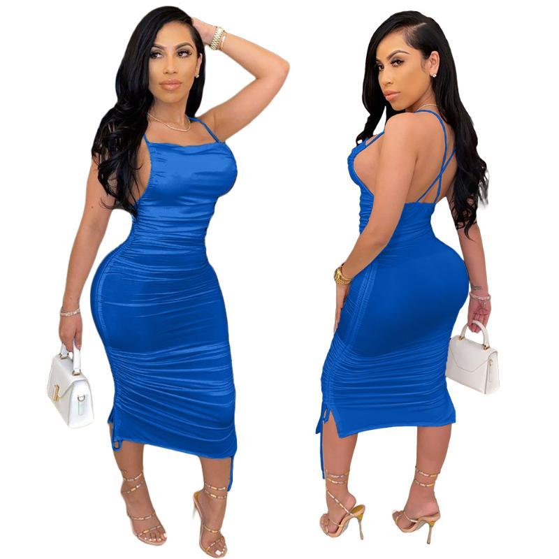 Les femmes Backless Robe moulante plissée spaghetti manches Chic Bracelet Sexy Club Night Out Robes solides