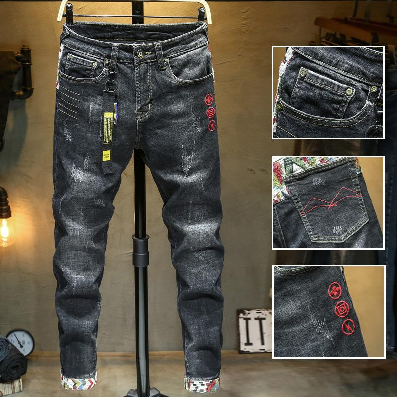 2020 Original Design New European And American Men's Stretch Feet Jeans Embroidered Hole Patch Slim Tide Pants Size 28-38