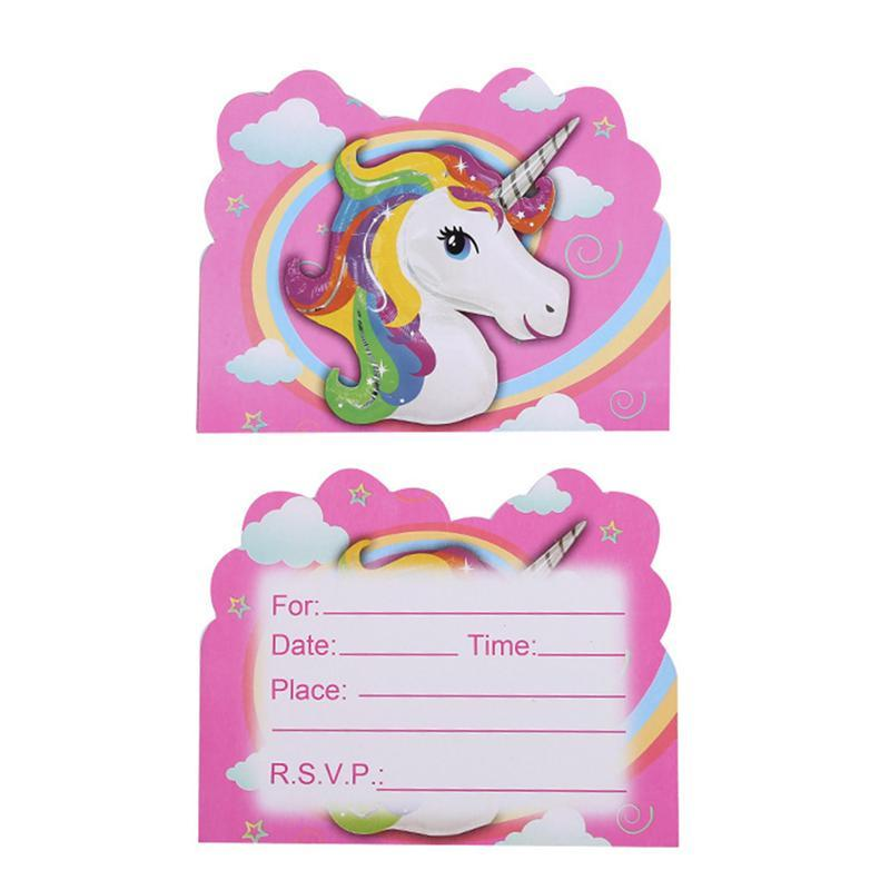 Cute Unicorn Invitation Card For Kids Birthday Party Cartoon Happy Birthday Party Gift Blessing Message Postcards Card Christmas Greetings Cards