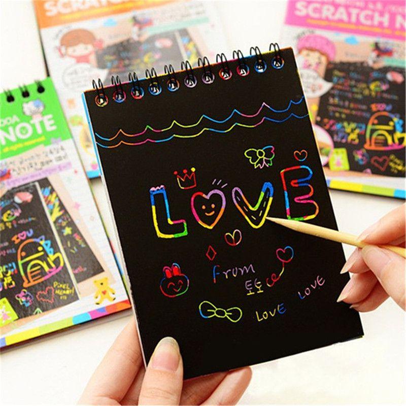 الملونة ورقة ديي الأطفال ألعاب تعليمية جديد المرح العبث خدش أطفال كتابات ملون أسود الإبداعية مع عصا الخشب