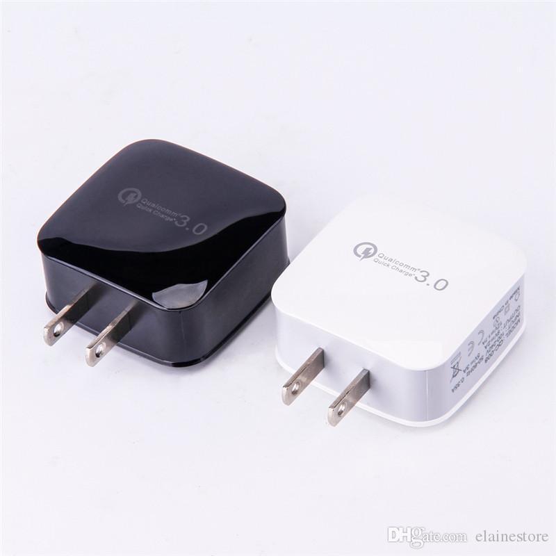 USB-Ladegerät Schnellladung 3 0 18W 3 0 18W Rapid USB-Wandladegerät Adapter EU US-Stecker für iPhone x 8 Samsung S9 Plus Universal-Ladegerät
