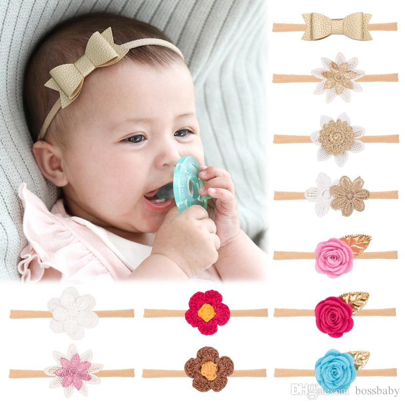 Infant Baby Floral Headbands 13 Designs Kids Nylon Elastic Flowers Hair Band Toddler Girls PU Bow Hairband Newborn Cartoon Headwear 060324